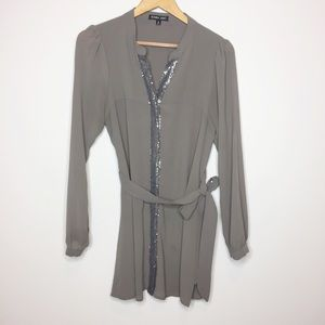 Double Zero taupe blouse sequin detail party